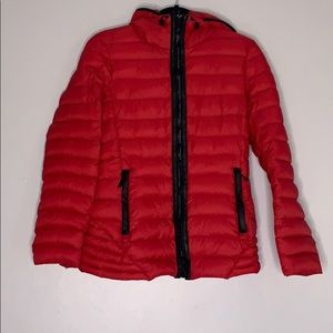 Michael Kors Red Hooded Packable Quilted Jacket